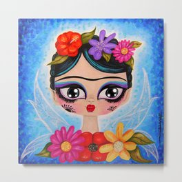 Little Fairy Flowery Frida Metal Print