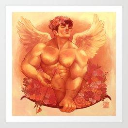 Eros In Roses Art Print