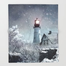 New England Winter Lighthouse Throw Blanket