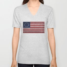 Betsy Ross flag, distressed textures Unisex V-Neck