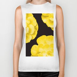 Large Yellow Succulent On Black Background #decor #society6 #buyart Biker Tank