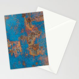 Rust on blue background Stationery Cards
