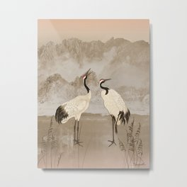 Wintering Manchurian Cranes Metal Print