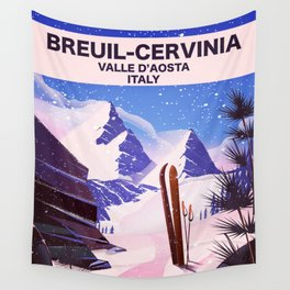 Breuil-Cervinia Valle d'Aosta Italy Ski poster. Wall Tapestry