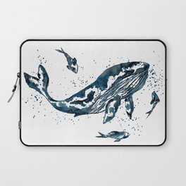 Watercolor Whale in Blue Laptop Sleeve