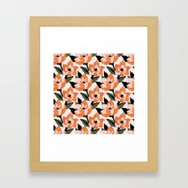 Bold orange poppy on a soft pink base Framed Art Print