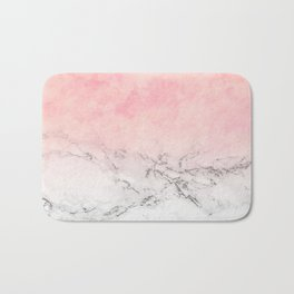 Modern blush pink watercolor ombre white marble Bath Mat