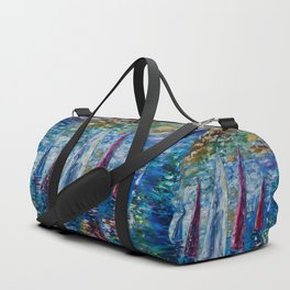 Sails To-night oil painting with Palette Knife Duffle Bag