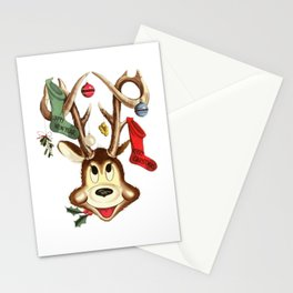 Reindeer Antlers and Christmas Stockings  Stationery Cards