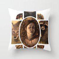 cycle Throw Pillows featuring Cycle by Matthew Spencer Illustration