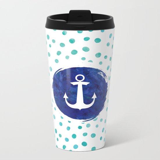 Watercolor Ship's Anchor Metal Travel Mug