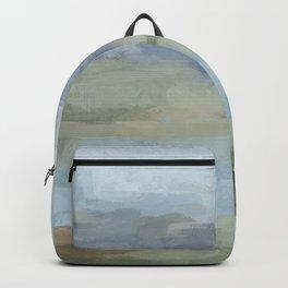 Sky Gray Blue Sage Green Abstract Wall Art, Painting Art, Lake Nature Painting Print, Modern Backpack
