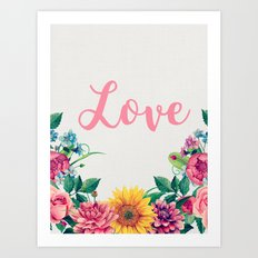 Floral watercolor Summer flowers illustration Love print Typography poster Gift for her Art Print