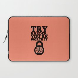 Lab No. 4 - Try Harder You Are Worth It Gym Inspirational, Motivational Quotes Poster Laptop Sleeve