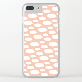 White Clouds on Pink Clear iPhone Case