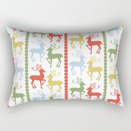 Holiday Reindeer Minimalist Christmas Pattern in Red Green Blue and Yellow Rectangular Pillow