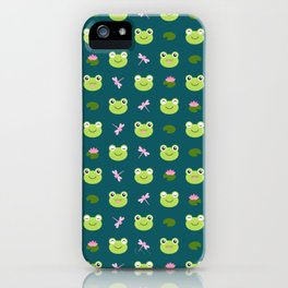 Frogs, Dragonflies and Lilypads on Teal iPhone Case