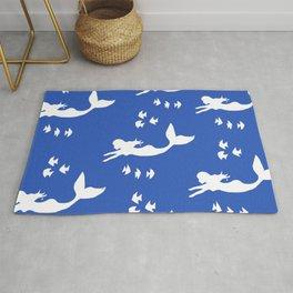 Mermaid Pattern Navy Blue Rug