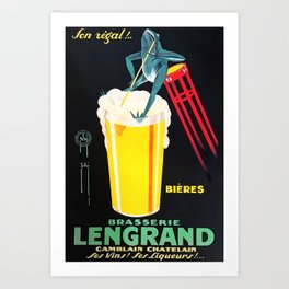 Vintage Advertising Poster - Brasserie Lengrand by G. Piana - Vintage Beer Poster Art Print