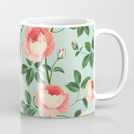 Roses on Turquoise Coffee Mug