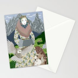 Lady with an owl and a dog Stationery Cards