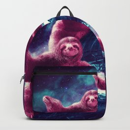 Crazy Funny Space Sloth Riding On Turtle Backpack