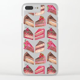 Cake Slices – Pink & Brown Palette Clear iPhone Case