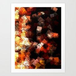 square fantasy in flames Art Print