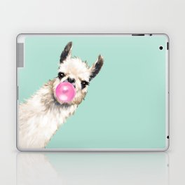 Bubble Gum Sneaky Llama in Green Laptop & iPad Skin