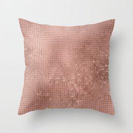 Beautiful Modern Rose Gold Square Pattern Throw Pillow