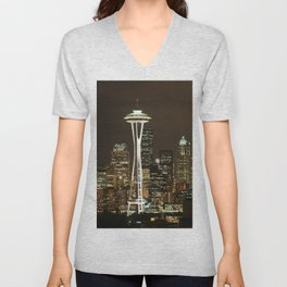 Seattle Space Needle at Night - City Lights Unisex V-Neck