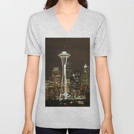 Seattle Space Needle at Night - City Lights Unisex V-Neck