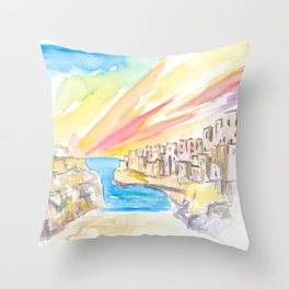 Polignano wonderful Morning in Southern Italy Throw Pillow