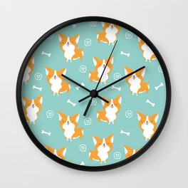 Sweet corgis pattern Wall Clock