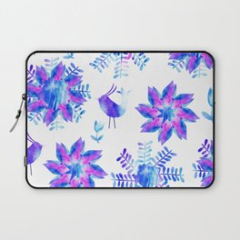 Watercolor flower and birds  Laptop Sleeve