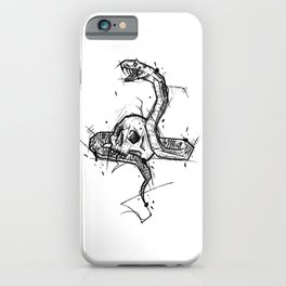 Skull and Snake Handmade Drawing, Made in pencil and ink, Tattoo Sketch, Tattoo Flash, Blackwork iPhone Case