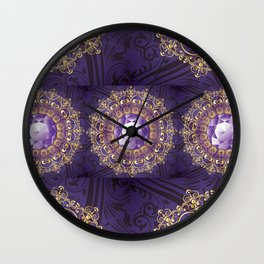 Decorative Background with Round Amethyst Wall Clock