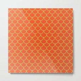 Mermaid Scales Pattern in Orange. Gold Scallops_Orange Metal Print