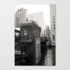 Black and White Chicago River Boat House Photography Canvas Print