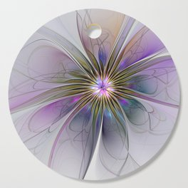 Abstract Flower, Fractals Art Colorful And Bright Cutting Board