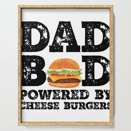 Dad Bod Powered By Cheese burgers Father Figure Gifts Idea with Funny Graphic for Food Lovers Serving Tray