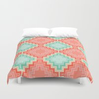 kilim Duvet Covers featuring coral mint kilim by musings