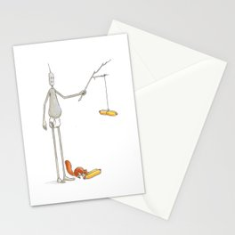lost robot and the hot dog Stationery Cards