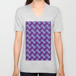Purple And Blue Line Geometric Patterns Unisex V-Neck
