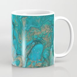 Malachite Flows - Abstract Acrylic Pour Art by Fluid Nature Coffee Mug