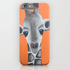 Baby Giraffe Orange Print. Animal Art animal print giraffe print kids room nursery art Slim Case iPhone 6