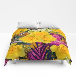 VINTAGE YELLOW ROSE FLOWERS PURPLE  PALMS ART Comforters