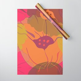 Colourful pink, yellow, orange poppies in transparent layers. Wrapping Paper