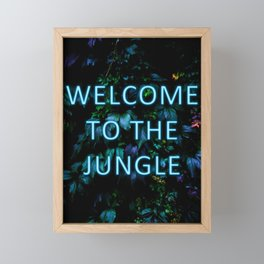 Welcome to the Jungle - Neon Typography Framed Mini Art Print