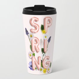 Rose Gold Spring Flower Blush Travel Mug